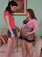 Mandy and pregnant muffy. Mandy having sexual fun with pregnant Muffy