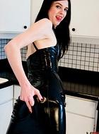 Black latex dress Naughty Mandy Mitchell in lascivious black latex dress.