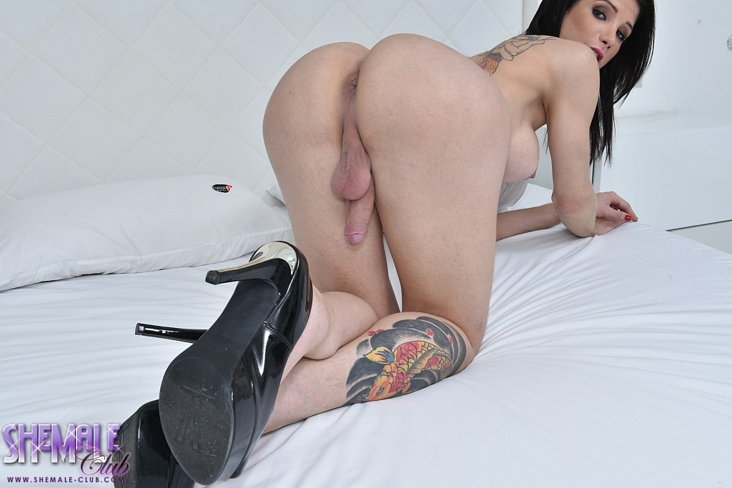 Mega hot ts victoria carvalho jacks off herself in the bedroom.