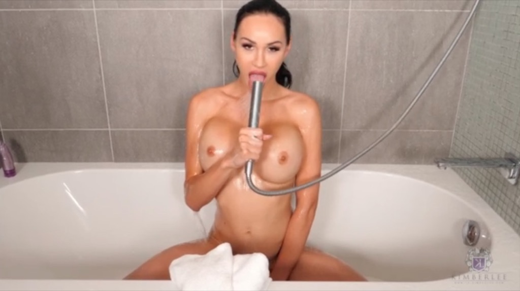 Kimberlee gets super horny after a hot bath and pleasures herself with a purple toy